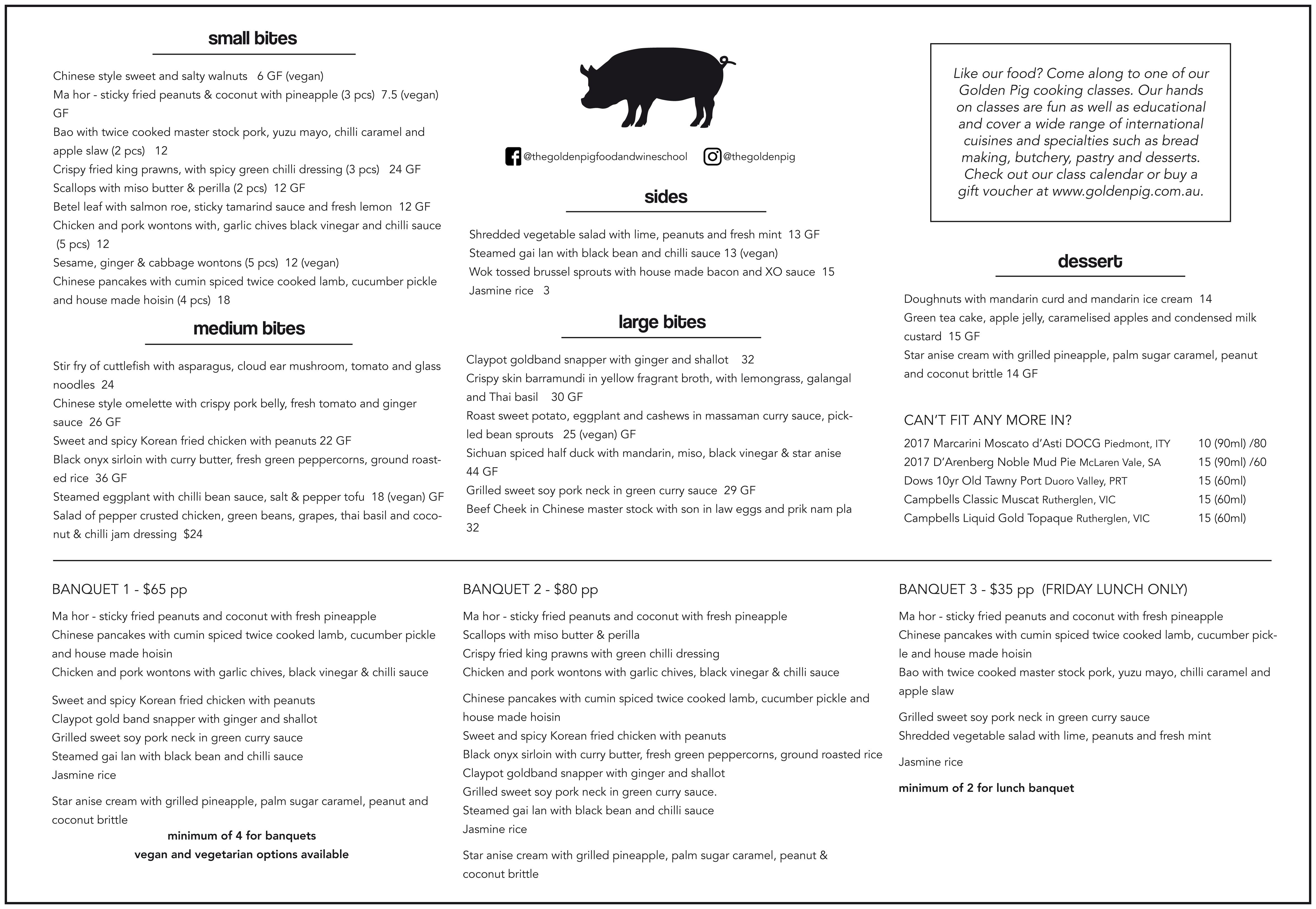 Golden Pig Restaurant menu