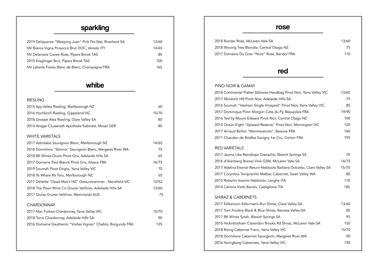 Golden Pig wine menu