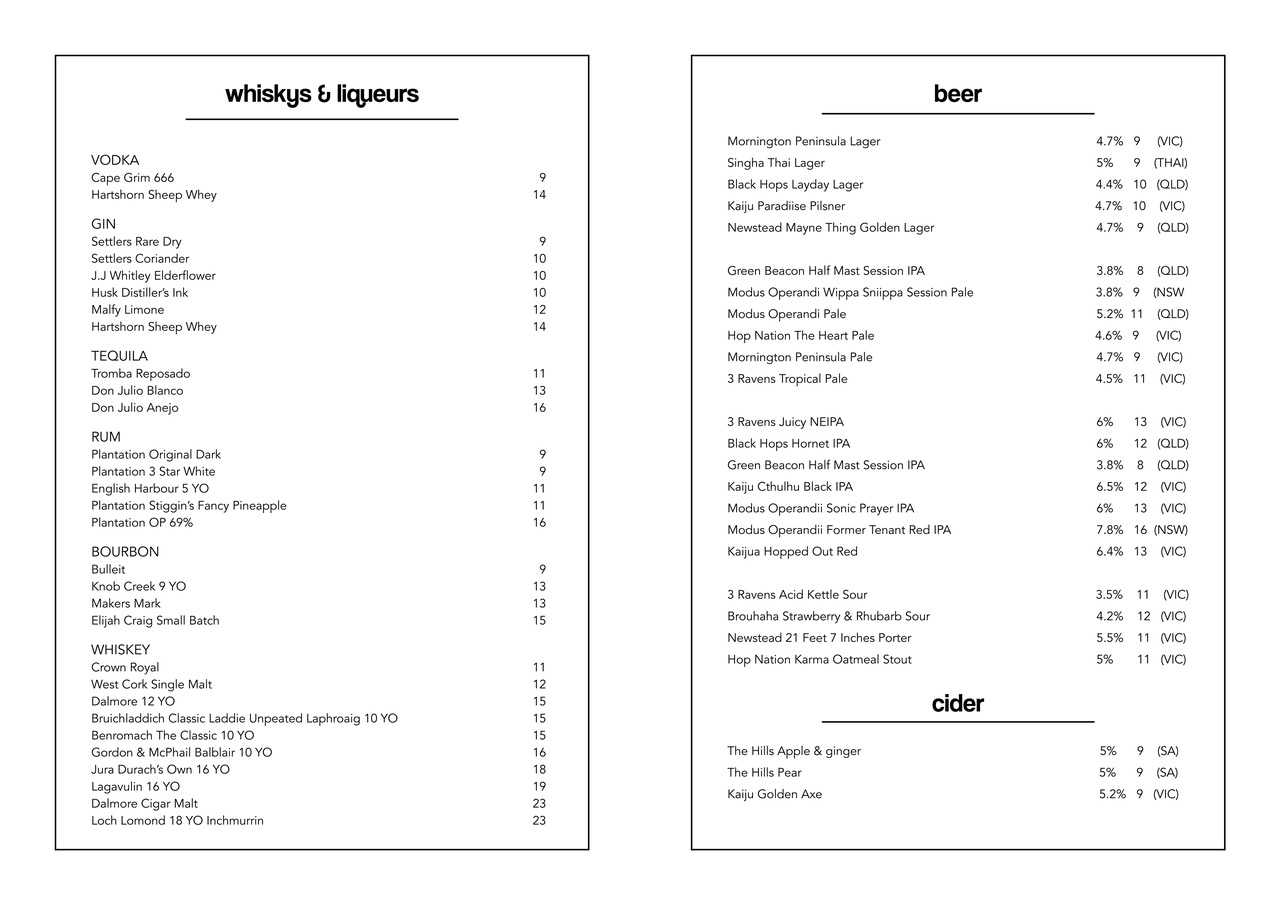 Golden Pig Whiskeys and Beer list