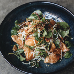 Crispy fish salad with green mango and sweet tamarind dressing
