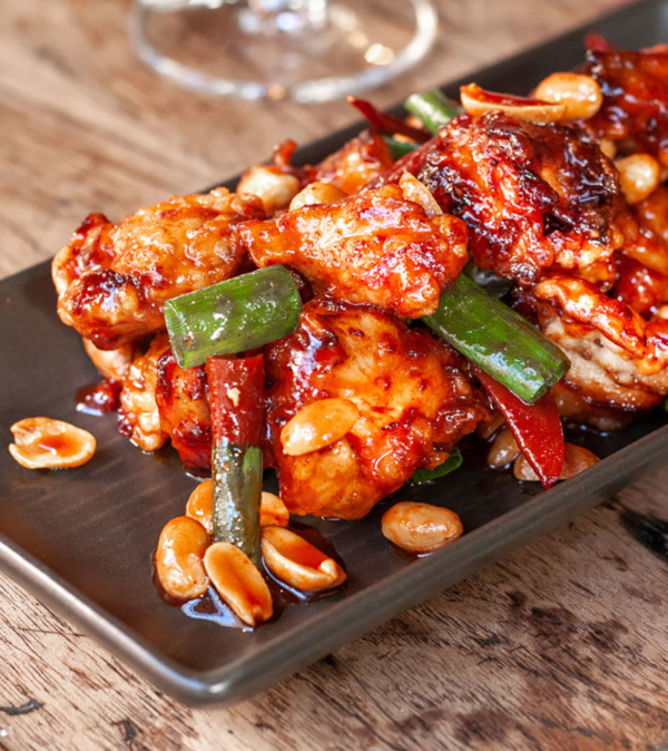 korean Fried Chicken with peanuts