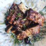 Korean glazed pork ribs marinated in nashi pear with red dates and sansho pepper