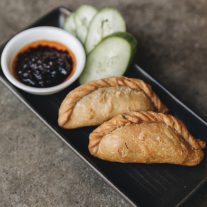 Beef rendang curry puffs with sweet soy and chilli sambal