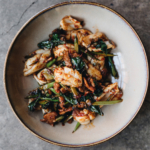 Cuttelfish and smoked bacon stir fry