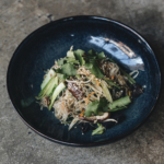 Wun sen noodle stirfry with shiitake mushroom,choy sum & garlic shoots ( vegan)