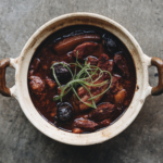 Braised Chinese red rice pork belly, red dates & ginger
